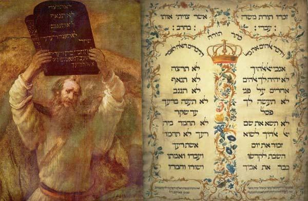 Moise cu Decalogul, Pergament cu cele 10 Porunci
