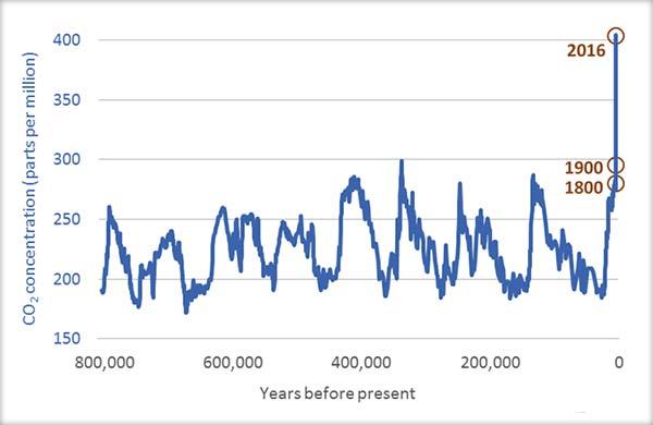 Variaţia concentraţiei atmosferice de CO2