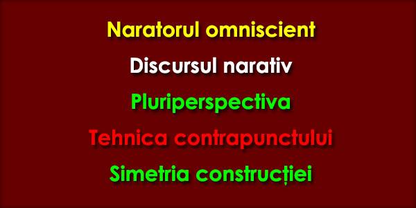 Naratorul omniscient, Discursul narativ, Pluriperspectiva, Tehnica contrapunctului, Simetria construcţiei